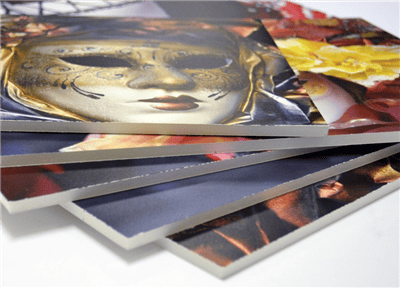 foamboards with art prints displaying  material, thickness, and size for comparison with gatorboard and falconbaord