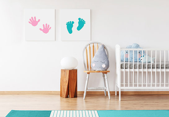 food and hand print  simple canvas ideas for kid room decorating