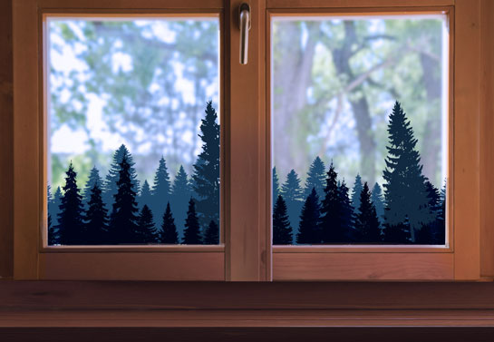 forest print bay window decoration idea