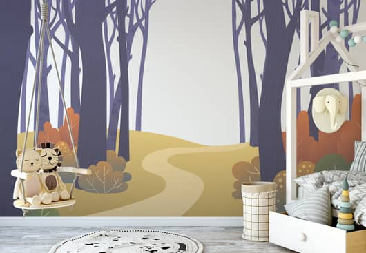kids room wall idea with large forest themed graphics