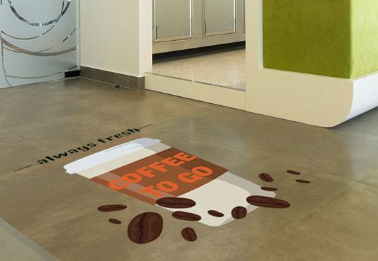 fresh coffee business floor sticker