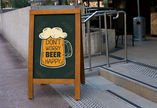 Don't Worry Beer Happy funny sandwich board design