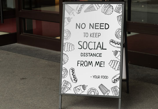funny and clever Covid-19 sandwich board quote