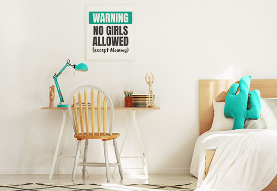boy's room canvas idea with a funny warning message