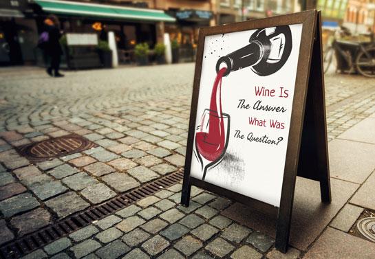 Wine Is The Answer funny bar sandwich board
