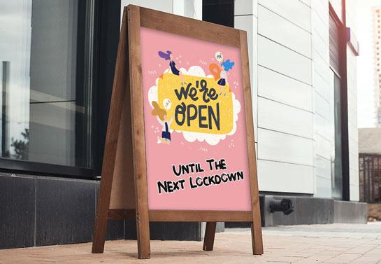 We're Open funny salon sandwich board