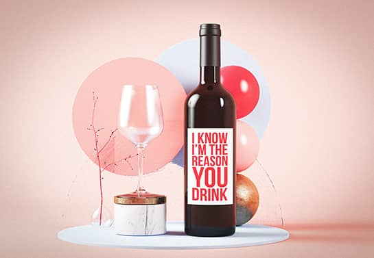 Funny wine bottle sticker with colorful balloons for mother's day celebration