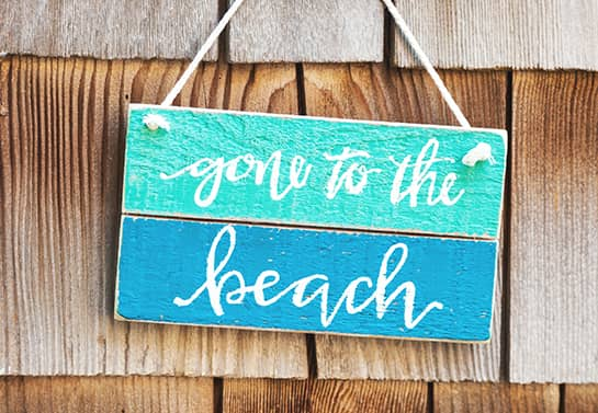 funny wood sign idea in a rustic style with the phrase Gone to the Beach