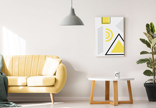 decorating idea for study guest room with a geometric canvas wall art