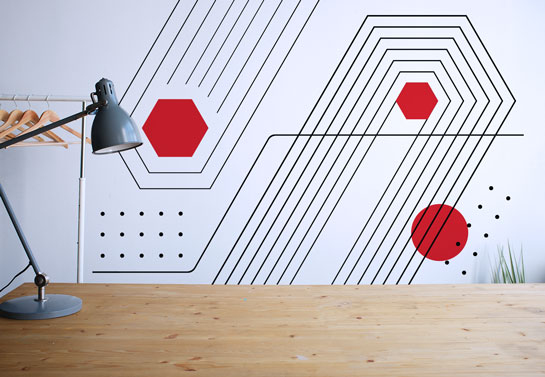 geometric print wall decal for an on a budget home office decorating