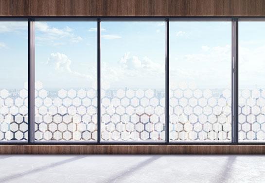 business window decor idea with geometric shape print