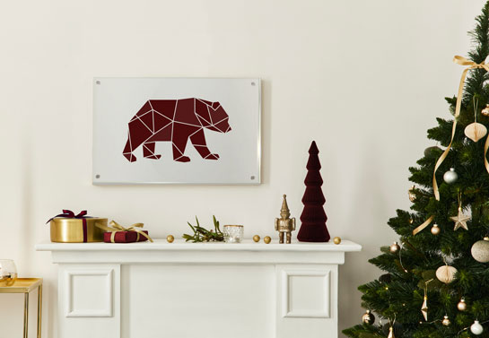 Kris Jenner Christmas decorations style acrylic wall art with a bear print