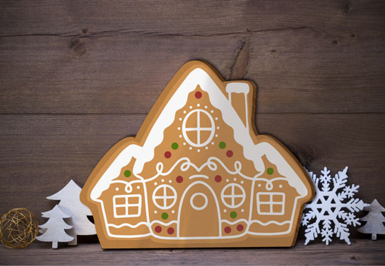 Kardashian Christmas decorations' style gingerbread ornament on the shelf