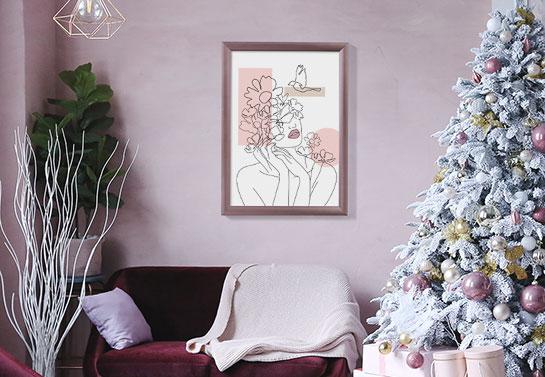 Kylie Jenner Christmas decor style wall art