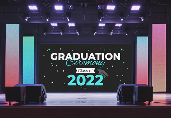 large school banner idea for the graduation ceremony stage
