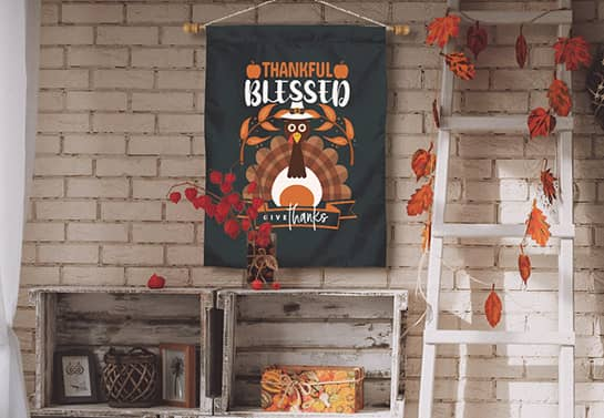 decorative Thanksgiving banner in black displaying a cute turkey