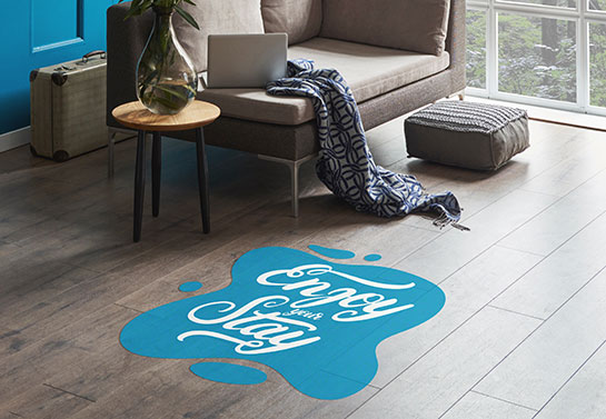 guest room home office decorating idea with a blue sticker on the floor