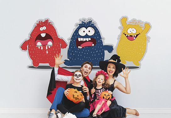 funny colorful Halloween backdrop idea with vintage monsters
