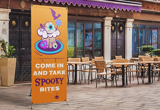 outdoor Halloween banner in fun colors for restaurants