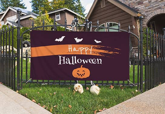 Halloween party banner in the front house garden