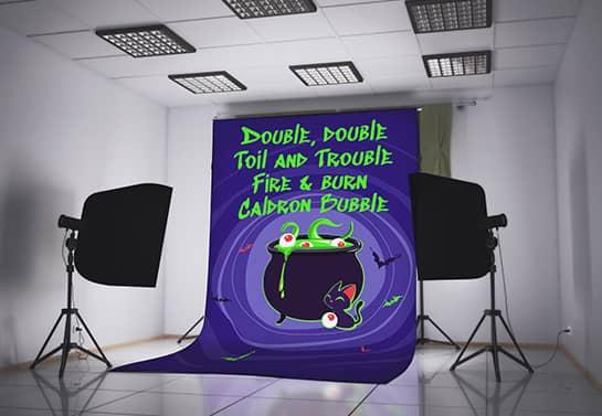 cartoon-themed Halloween banner for a photoshoot
