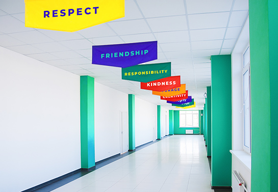 colorful school banner idea displaying positive words