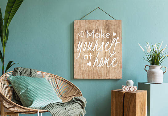decorating idea for study guest room with a hanging printed sign