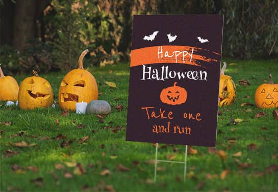 free standing Happy Halloween yard sign in black