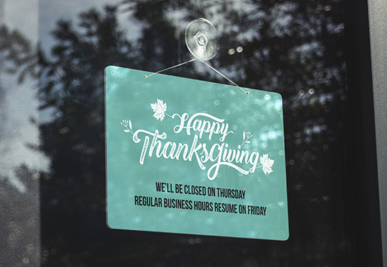 Happy Thanksgiving closed sign in green
