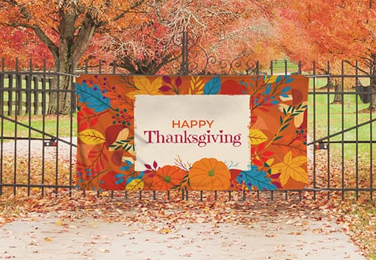 outdoor Happy Thanksgiving banner with autumn-themed patterns