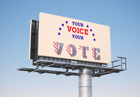 Your Voice Your Vote highway political sign idea