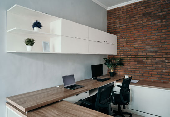 fun home office wall decor idea with brick wall stickers