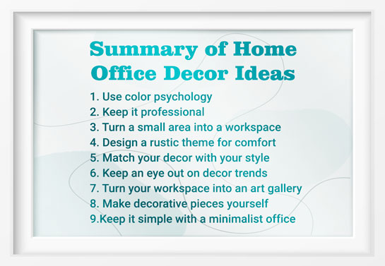 summary of the best home office decor ideas