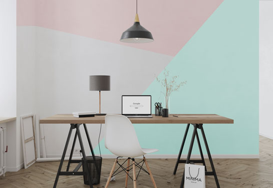home office geometric wall paint