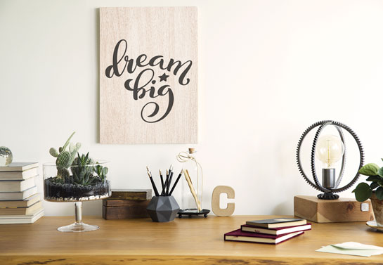 home office den decor idea with budget-friendly wooden decor