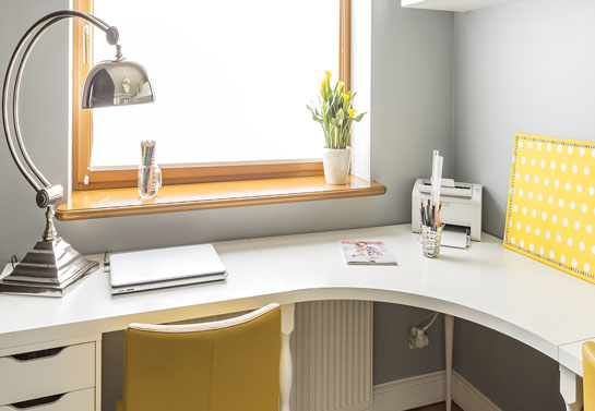 home office space created in a small corner