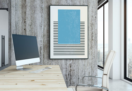 home office decor idea with geometric canvas