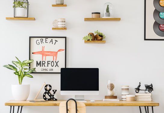 home office space saving practical wall-mounted desk