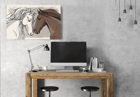 rustic home office decorative horse canvas print