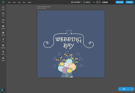 image showcasing wedding sign making process on Squaresign's design tool