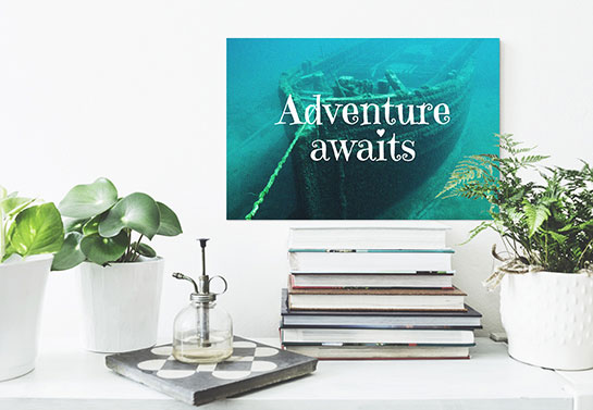 """Adventure Awaits"" inspirational canvas design idea on a library wall"