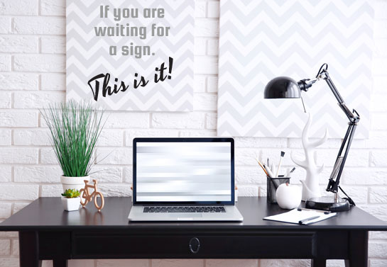 inspirational wall sign for modern home office decorating