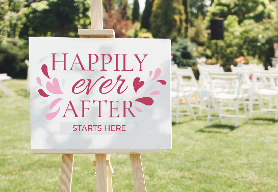 wedding welcome sign idea with pink lettering