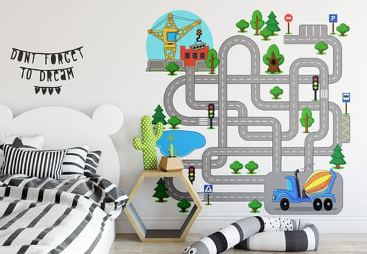 kids room wall art idea with an interactive road map