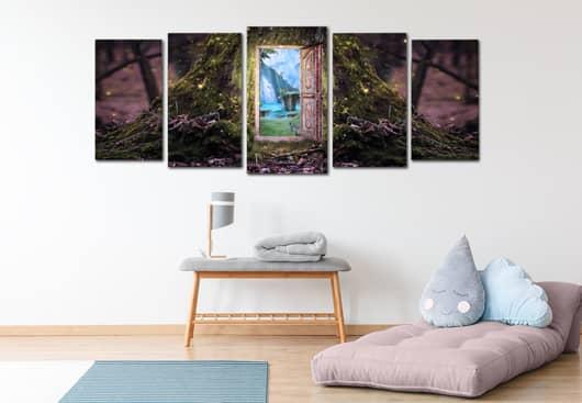 Wonderland themed canvas decor idea for kids room wall