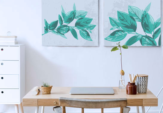 minimalistic canvas print for a simple home office