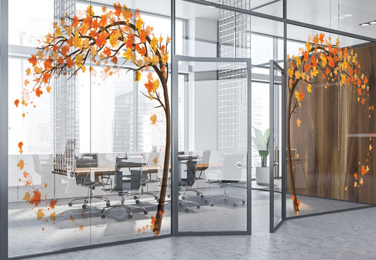 autumn leaves business window graphic idea