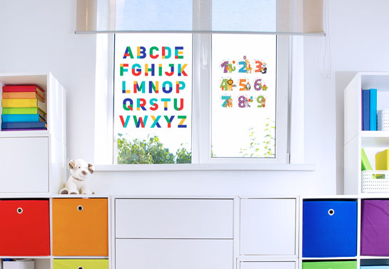 letters and numbers kid's room window decor