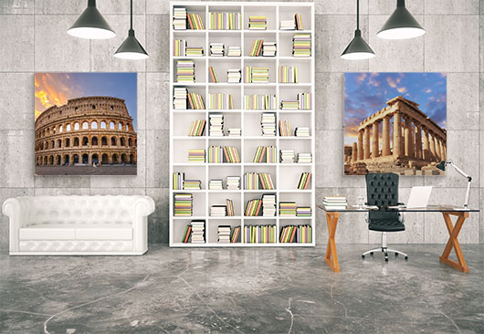 travel prints library decor idea