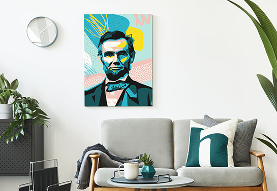 home office spare room decorating idea with Lincoln's abstract portrait